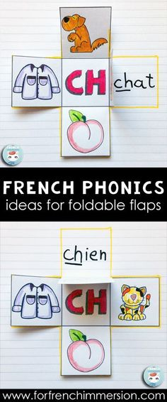 French PHONICS foldable flaps - an interactive way to get kids to learn phonics. Teaching French sounds. Le son CH.