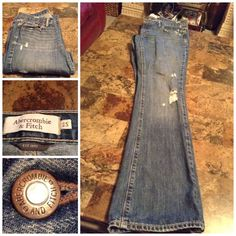 Distressed Jeans By Abercrombie & Fitch Abercrombie & Fitch Distressed Jeans. Size 2S. Emma Style. 100% Cotton. Inseam 30. In overall good condition with normal wear.  Smoke free home. ALL OFFERS through the offer button ONLY. Abercrombie & Fitch Jeans