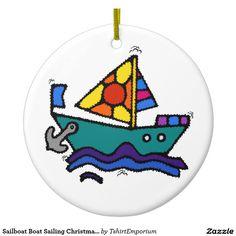 Sailboat Boat Sailing Christmas Ornament