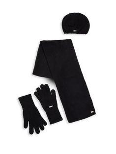 CALVIN KLEIN Three-Piece Hat, Scarf & Gloves Set. #calvinklein #set