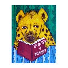 Hyena Reading a Book Animal Art Print by lulunjay on Etsy, $17.99