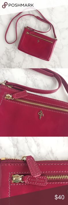 """Cole Haan Mini Jitney Ali Crossbody -Great condition. Used only a few times -No scratches or marks -Glossy purple/grape colored patent leather w/Cole Haan engraved hardware -Top zipper closure, Cole Haan solid lining, interior & exterior pockets -Measurements: 5""""H x 7 3/4""""W x 1""""D;Adjustable 22-1/2"""" shoulder strap. -Last photo showed a modeled view on actress Freida Pinto (not my photo) -Sorry, no trade Cole Haan Bags Crossbody Bags"""
