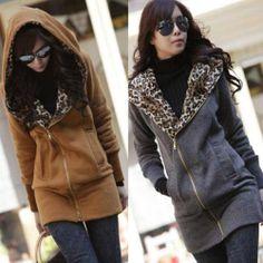 HOT Womens Leopard Hoodie TOP Fleece Jackets Zip Coat Ladies Sweatshirt M L J, Ebay