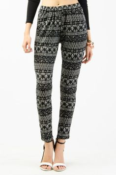 Ethnic Print Knit Trousers