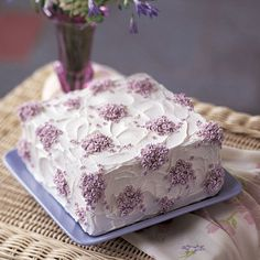 Violet Cascade Cake Simple cake decorating ideas, like this Violet Cascade Cake, are great projects for decorators of a Cake Decorating Frosting, Creative Cake Decorating, Birthday Cake Decorating, Cake Decorating Techniques, Creative Cakes, Decorating Ideas, Square Cake Design, Square Cakes, Novelty Birthday Cakes