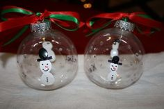 Snowman Ornaments with Glitter Snow, kid thumbprints?  Do on plastic clear, or colored glass bulb?