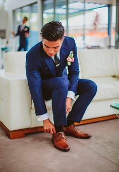 I luhhve this shade of blue for a suit paired with these gorgeous aged lighter brown leather dress shoes. Absolutely eye catching and completely attractive in every way! (Joe-button?)