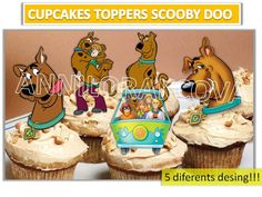 Printable Scooby doo, scooby doo Cupcake Topper, digital file, Circle Favor Tags, Instant Download, U Print 50%OFF by ANNILORACK on Etsy