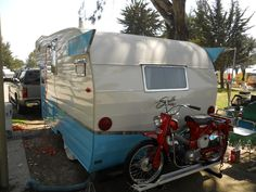 (1961) Shasta Astrodome Trailer - Honda Trail 90 on Back...