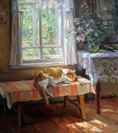 Marina Chulovich ( — Cat asleep in front of Window in a Cottage, 2000 Art And Illustration, Illustrations, Cat Drawing, Painting & Drawing, Bd Art, Cat Sketch, Soviet Art, Russian Art, Animal Paintings