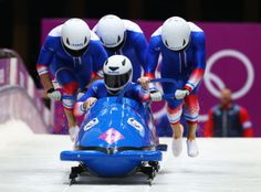 Pilot Loic Costerg, Romain Heinrich, Florent Ribet and Elly Lefort of France team 1 make a run during the Men's Four Man Bobsleigh heats (c) Getty Images Usa Olympics, Winter Olympics, France Team, Bobsleigh, Skin Tight, The Man, Skate, Skiing, Pilot