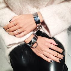 LOVE THIS- rings, steel cuffs, manicure, pants, everything. from CREEPYYEHA