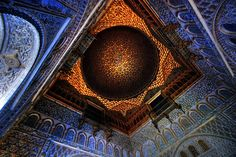 The Alcazar of Sevilla. Originally built by the Almohads in the 10th century, it was expanded by Christian monarchs and remains an example of Mudejar style. It and the Alhambra in Granada are the grandest royal palaces that survive from Al Andalus.           by rabataller, via Flickr