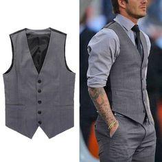 Fashion Men's Formal Business Casual Dress Vest Suit Slim Tuxedo Waistcoat Coat is part of Clothes Mens Formal - Business Casual Dresses, Business Casual Men, Men Casual, Western Outfits, Mens Fashion Suits, Mens Suits, Outfit Hombre Formal, Mens Formal Vest, Suit Vest