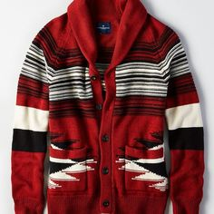 AE Southwest Cardigan Sweater ($90) ❤ liked on Polyvore featuring men's fashion, men's clothing, men's sweaters, red, mens cardigan sweaters, mens chunky sweater, mens red sweater and mens red cardigan sweater