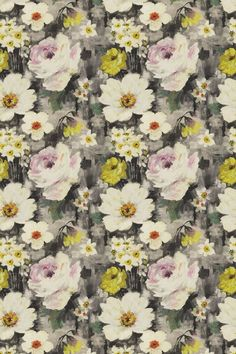 An elegant, large scale watercolor floral fabric with stylized flowers.