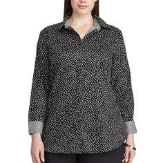 Plus Size Chaps Non-Iron Cotton Button-Down Shirt, Women's, Size: 1XL, Black Cream
