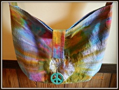 OOAK Hippy Peace Batik Tote Slouch Bag by ShinesDesigns on Etsy, $22.00