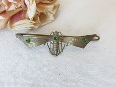 Gorgeous Art Deco Vintage French Bug Brooch, Open Wing Cicada Pin, Green Glass Stones, Pretty Good Luck Brooch, 1920s Vintage Jewelry by SweetVintageDream on Etsy