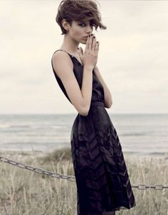 Black dress with chevron details. <3 (+Freja Beha Erichsen is awesome!)