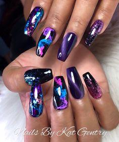 Unique Acrylic Nails Art You Should Try Now - Page 91 of 93 - PinningFash. - Unique Acrylic Nails Art You Should Try Now – Page 91 of 93 – PinningFash… Uniqu - Fancy Nails, Cute Nails, Diy Nails, Acrylic Nail Designs, Nail Art Designs, Unique Nail Designs, Purple Nail Designs, Nail Design Glitter, 3d Acrylic Nails