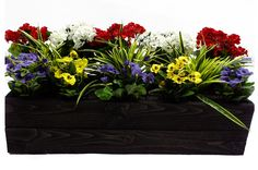 Artificial flowing window box. This trough can be made in a variety of color and to any dimension. Click for more info