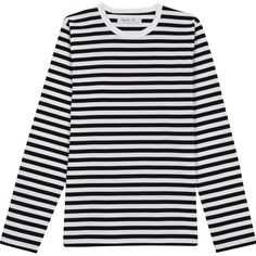With its feminine form, our MERIDAME top is a reinterpretation of the classic nautical shirt, with scoop collar for relaxed comfort. Made in Saint-James, Normandy, France. Breton Stripe Shirt, Nautical Shirt, Nautical Stripes, Black White Stripes, Black Tops, Long Sleeve, Clothes, Shopping, Saint James