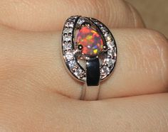 fire opal Cz ring gemstone silver jewelry Sz 8 modern cocktail engagement G799E #Cocktail