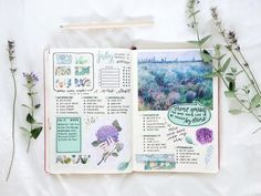 """1,788 Likes, 28 Comments - Lucie (@journalsanctuary) on Instagram: """"Mint green and lavender spread ✨ the hand with flowers drawing is by @mochipanko (who's recently…"""""""
