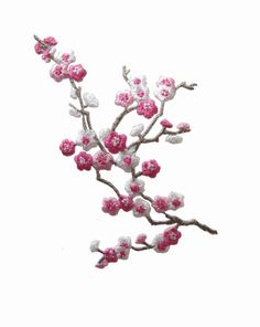 "3-3/4"" Pink White Quince Sakura Flower Embroidery Iron On Applique Patch #Unbranded"