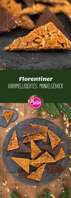 Florentiner sind feine Gebäckstücke mit Mandeln, die mit Butter und Zucker karamellisiert und mit Zartbitterkuvertüre fertiggestellt werden. Florentiner sind glutenfrei.