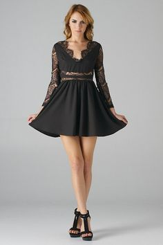 Black-Long-Sleeve-Fit-and-Flare-Dress.jpg 480×720 pixels