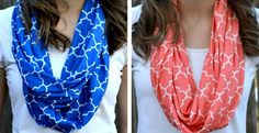 Give your style an update with our modern Moroccan tile infinity scarves in 11 fantastic colors for Spring and Summer. These scarves are made from super soft, high quality jersey knit and are the perfect weight to wear from Spring into Summer. They are lightweight enough that they won't overheat you in the Summer but will still keep that neck warm on those colder Spring days! They can be worn fluffed up for a fuller look or streamlined for more of a necklace feel. We LOVE the versatility of…