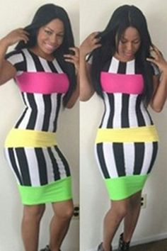 NEW Fashion Womens Celebrity Bodycon dress Multi Colored Striped Bandage Dress Women Sexy Miami Evening Club Novelty Outfit Junior Cocktail Dresses, Gold Party Dress, Cheap Dresses Online, Dress Online, Clubwear Dresses, Club Party Dresses, Bodycon Dress Parties, Plus Size Womens Clothing, Sexy Dresses