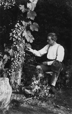 Unknown photographer :: Karl Blossfeldt Examining Leaves, ca. Karl Blossfeldt, Still Life Photography, Macro Photography, Fine Art Photo, Photo Art, Natural Form Art, Royal Art, African Sculptures, Photographer Pictures