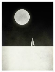 Black and White Print Moon Minimalist Sail Boat by evesand