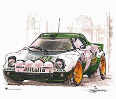 Lancia Stratos artwork for Sega Rally 2 Vintage Racing, Vintage Cars, F1 Posters, Car Illustration, Car Drawings, Automotive Art, Car Wheels, Rally Car, Retro Cars