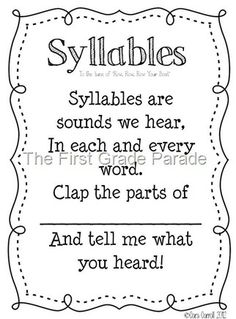 The Syllable Song (to Row Row Row Your Boat) - write out on sentence strips to put in pocket chart. Can be used with syllable counting cards. Kindergarten Language Arts, Kindergarten Literacy, Word Study, Word Work, First Grade Parade, First Grade Reading, Early Reading, Phonics Words, Workshop