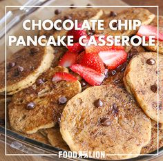 This chocolate chip pancake casserole is as delicious as it sounds. A delectable cross between pancakes and French toast, it promises to be a crowd-pleaser at brunch.