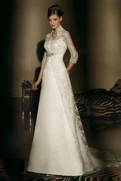 High Collar Full Length Wedding Dresses, Celebrity Wedding Dresses - dressale.com