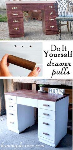 Wooden Drawer Pulls, Drawer Handles, Diy Drawers, Wooden Drawers, Painted Furniture, Refinished Furniture, Rustic Furniture, Wood Pieces, Wooden Diy