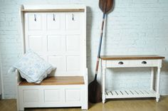 Large three hook tall bench- perfect for the hallway
