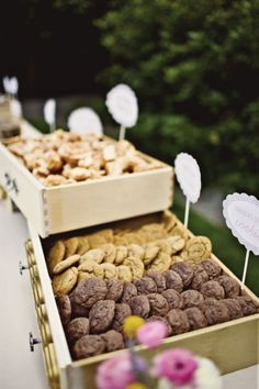 Old Drawers as serving platters .... Love the look and never would have thought of this!