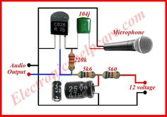 This is a symple microphone circuit diagram. we need this circuit diagram in every where in the electrinics. without microphone we can't think electronics. Hobby Electronics, Electronics Components, Electronics Projects, Electronic Circuit Design, Electronic Engineering, Circuit Board Design, Electrical Circuit Diagram, Diy Amplifier, Electronic Schematics