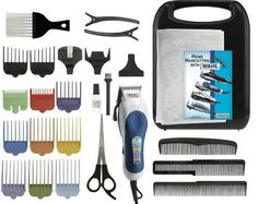 Wahl Homepro Color-coded Haircutting (25-Piece Kit)***Item Package Quantity: 1.High-speed PowerDrive motor cuts thick hair more smoothly,Permanently aligned high-carbon steel blades never need adjusting,11 color-coded guide combs for quick and easy reference,Includes 3 combs, scissors, 3 hair clips, barber's cape, neck duster,Hard plastic storage case; 5-year limited warranty,.