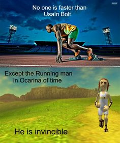 No one is faster than the running man in OoT! NO ONE!   Except Michael Meyers. Michael Myers is always faster.