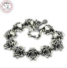 Esqueleto crânio Ghost Rider s925 pulseira de prata homens jóias 925 pulseiras de prata esterlina sólida grande cadeia masculina HKB23 //Price: $US $99.90 & FREE Shipping //    #capitainamerica #capitãoamerica #marvel #avenger