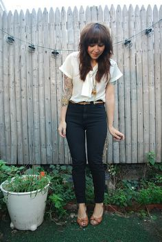 white blouse/black trousers combo.