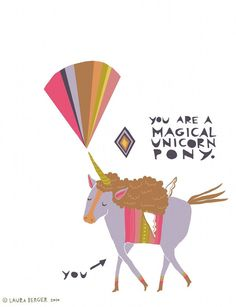 My friends would expect this from me I'm sure! Magical Unicorn Pony Greeting Card. $4.00, via Etsy.
