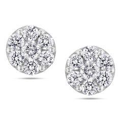 New! Miadora 14k White Gold /5ct TDW Diamond Earrings